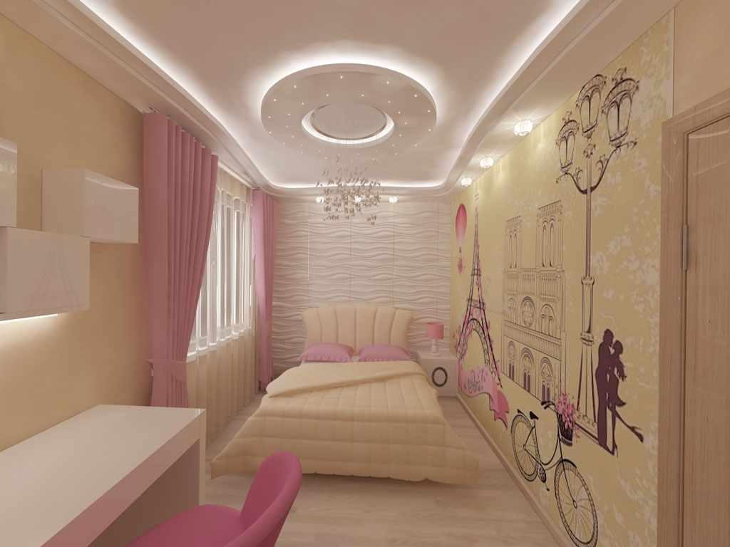 пример необычного интерьера спальной комнаты для девочки