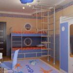 вариант яркого интерьера детской комнаты фото