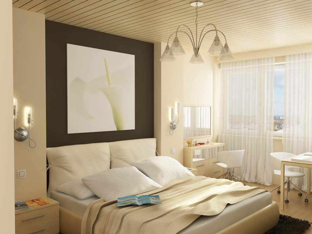 пример красивого декора спальной комнаты в хрущевке