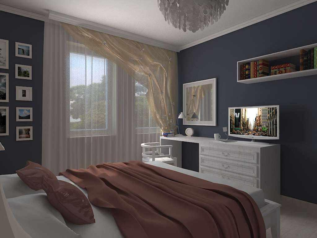 вариант необычного стиля спальной комнаты 15 кв.м