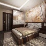 пример необычного декора спальной комнаты в хрущевке фото