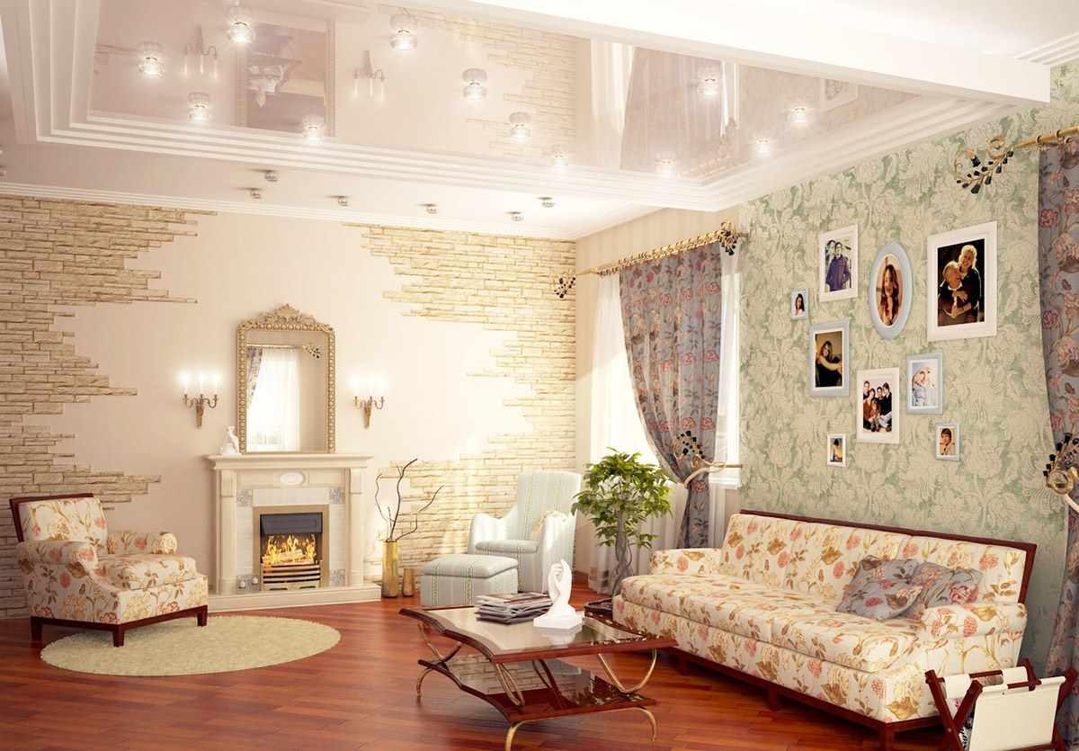 вариант светлого интерьера прованс в гостиной