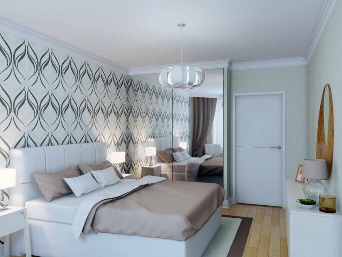 вариант яркого интерьера спальной комнаты в хрущевке