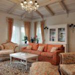 пример необычного дизайна прованс в гостиной картинка