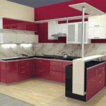 пример яркого стиля красной кухни картинка