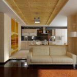 идея светлого дизайна кухни гостиной 16 кв.м картинка