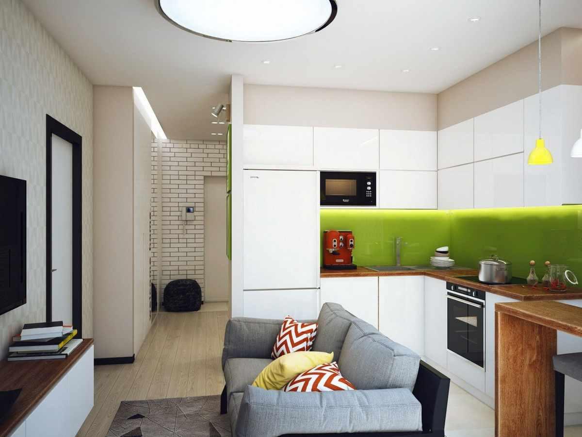 вариант необычного стиля кухни гостиной 16 кв.м