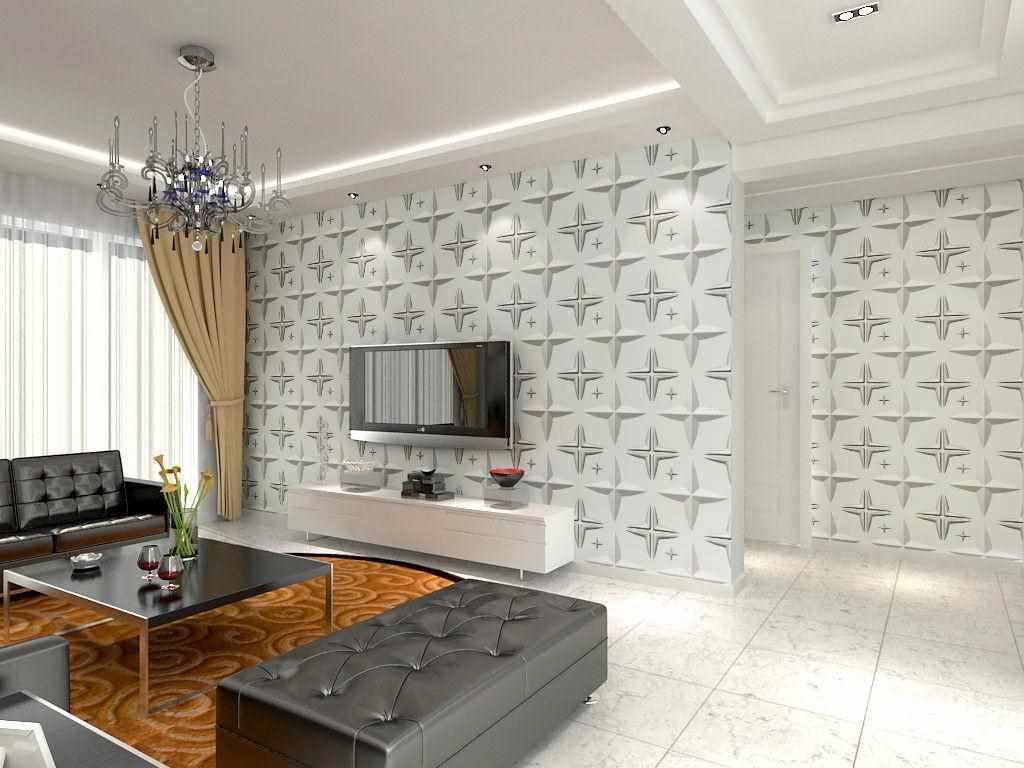 идея светлого дизайна обоев для гостиной