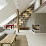 идея светлого декора спальной комнаты в мансарде картинка