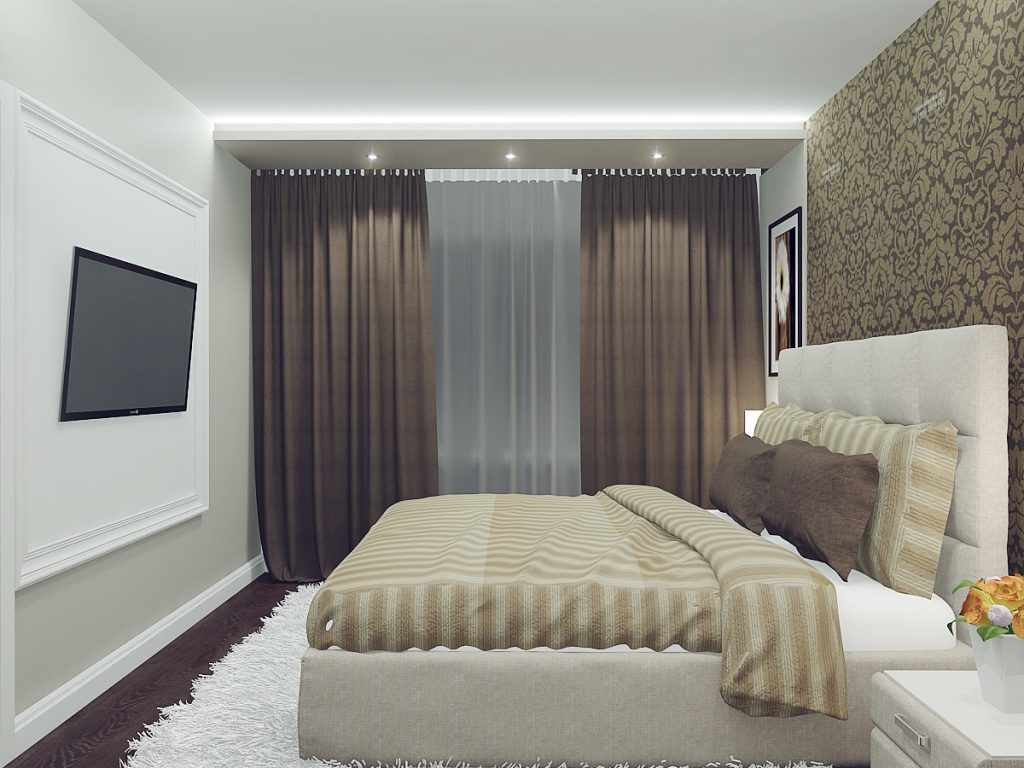вариант красивого декора спальни в хрущевке