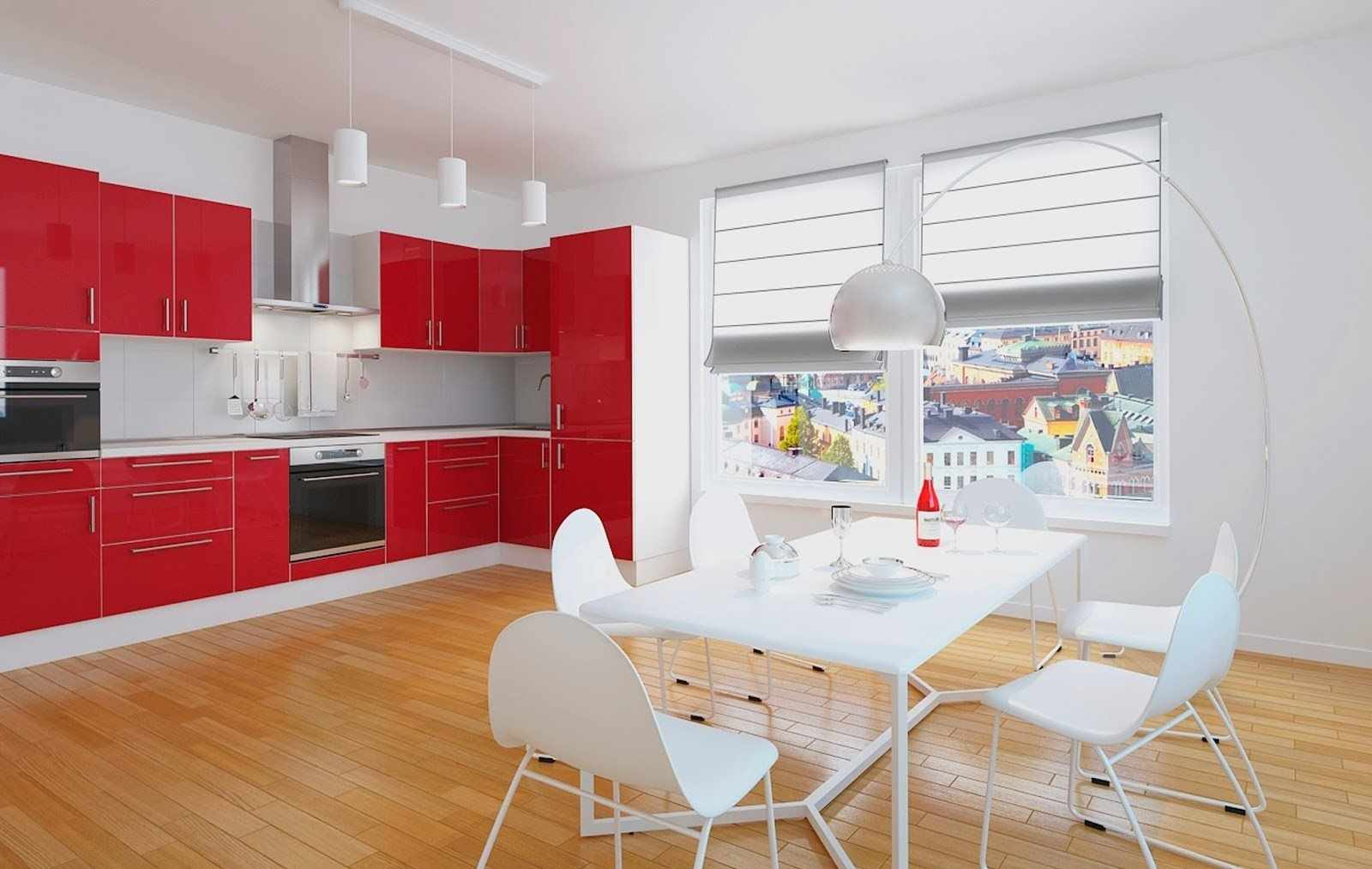вариант яркого дизайна красной кухни