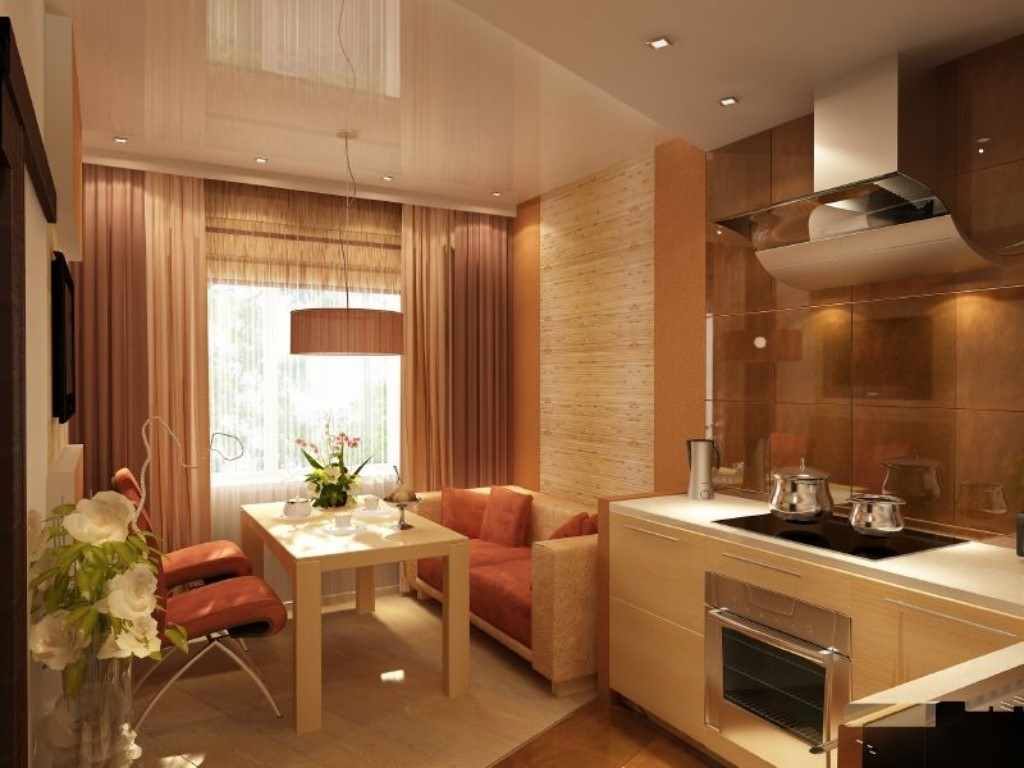 вариант необычного интерьера кухни гостиной 16 кв.м