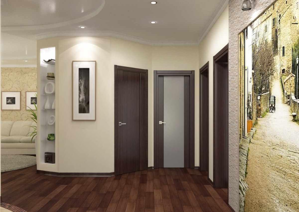 идея яркого интерьера коридора в частном доме