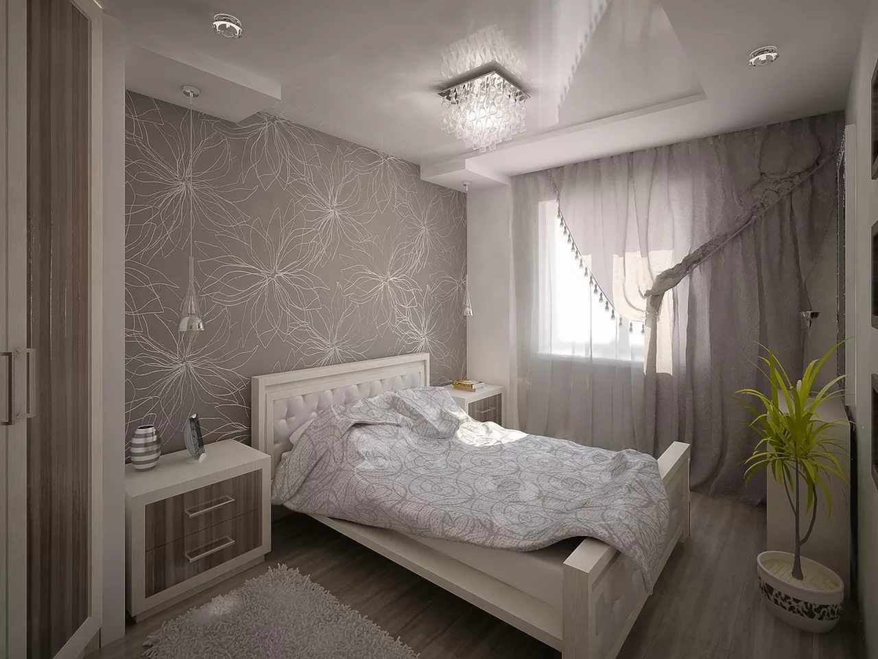 пример яркого стиля спальной комнаты в хрущевке