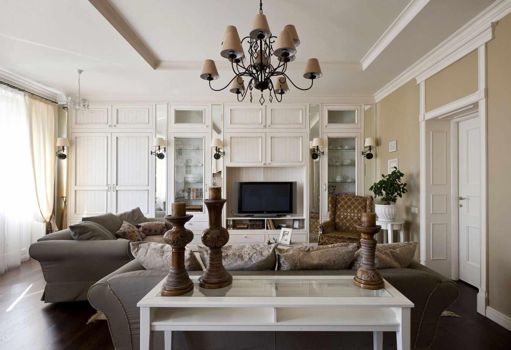 идея необычного интерьера прованс в гостиной комнате
