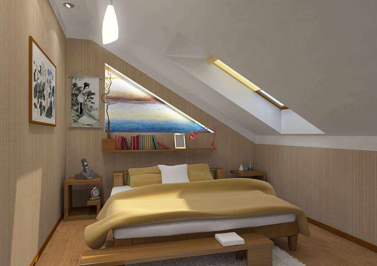идея необычного декора спальной комнаты в мансарде