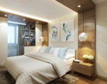 пример яркого интерьера спальной комнаты 15 кв.м картинка