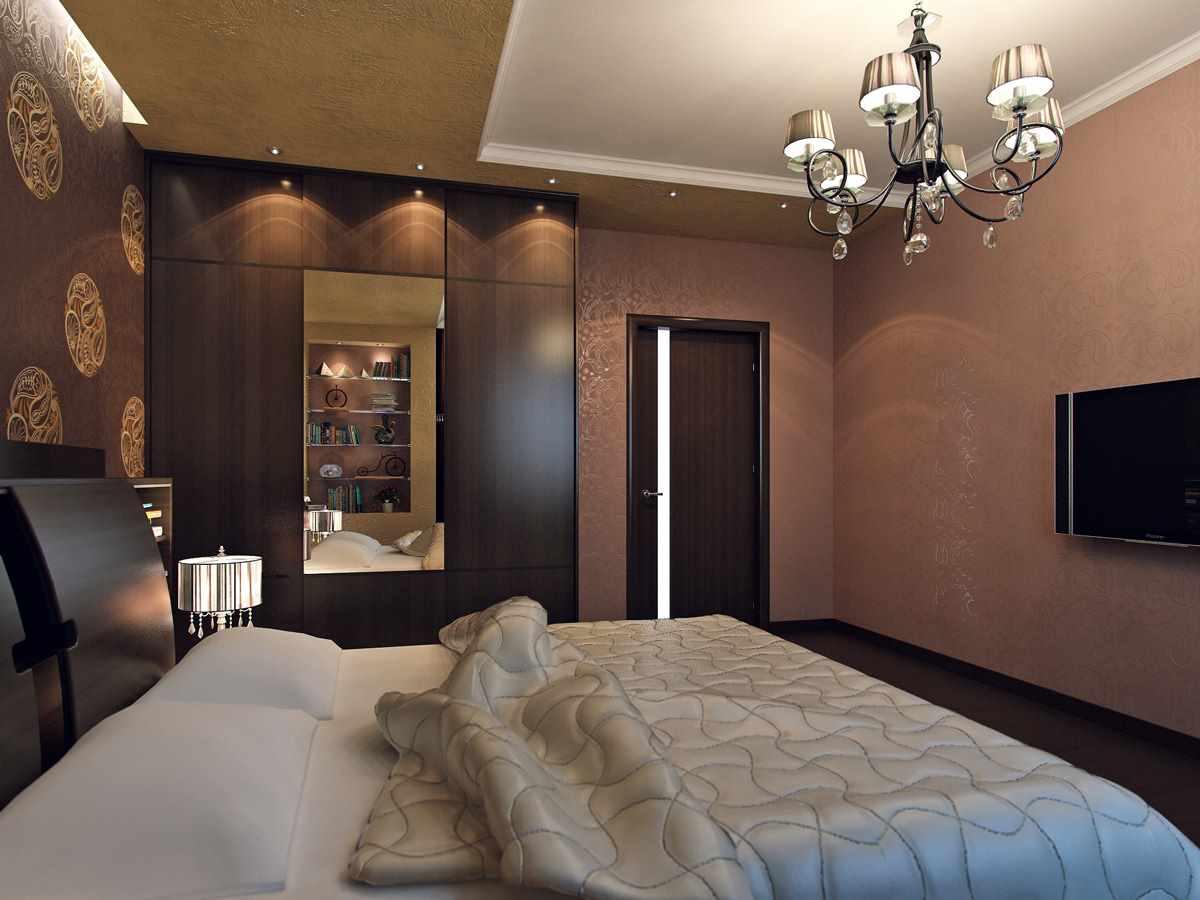 идея яркого дизайна спальной комнаты 15 кв.м
