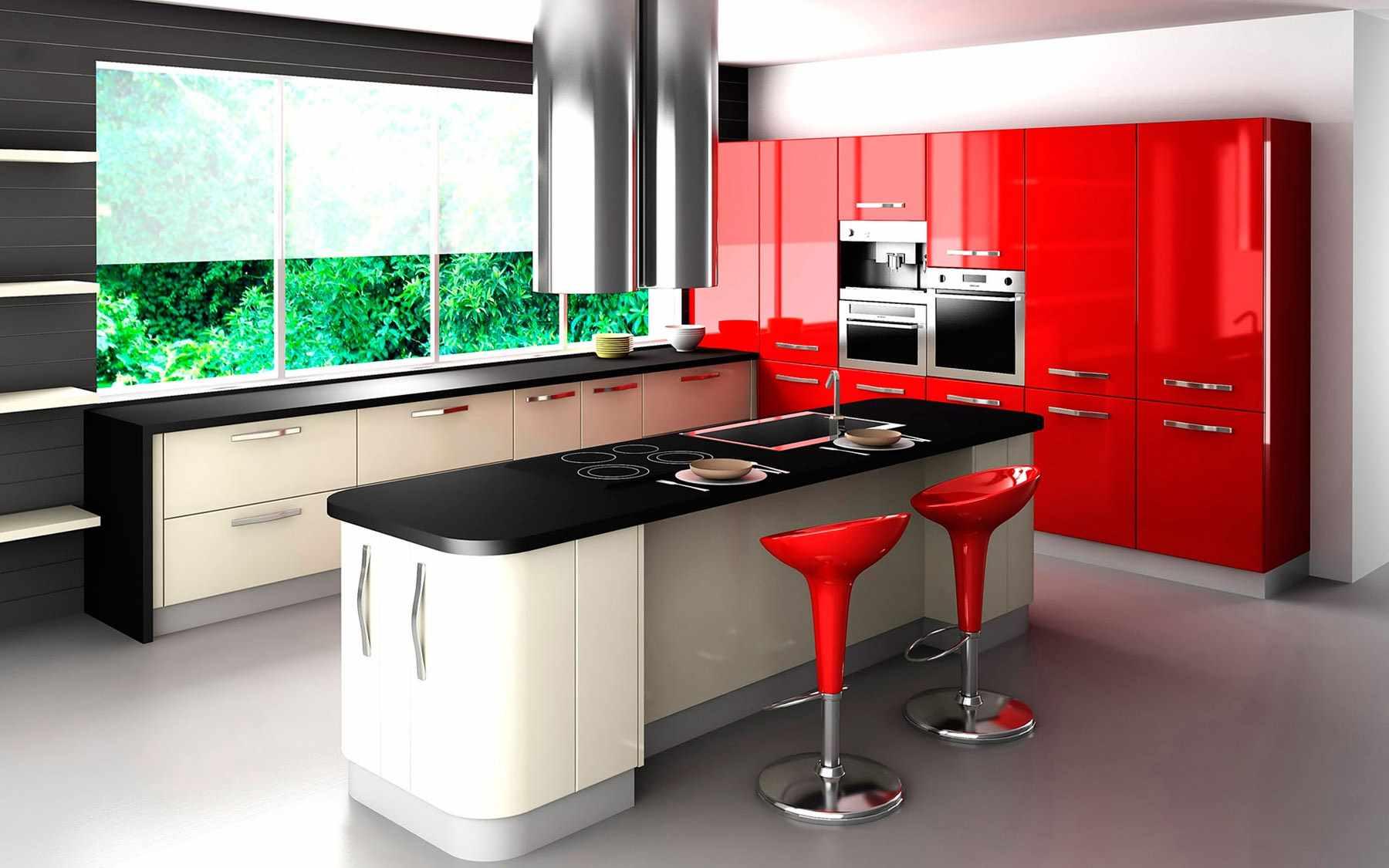 идея яркого интерьера красной кухни