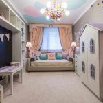 вариант необычного дизайна спальни для девочки картинка