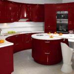 идея яркого интерьера красной кухни фото