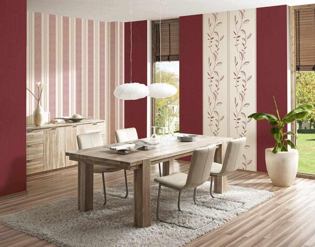 пример необычного дизайна обоев для гостиной