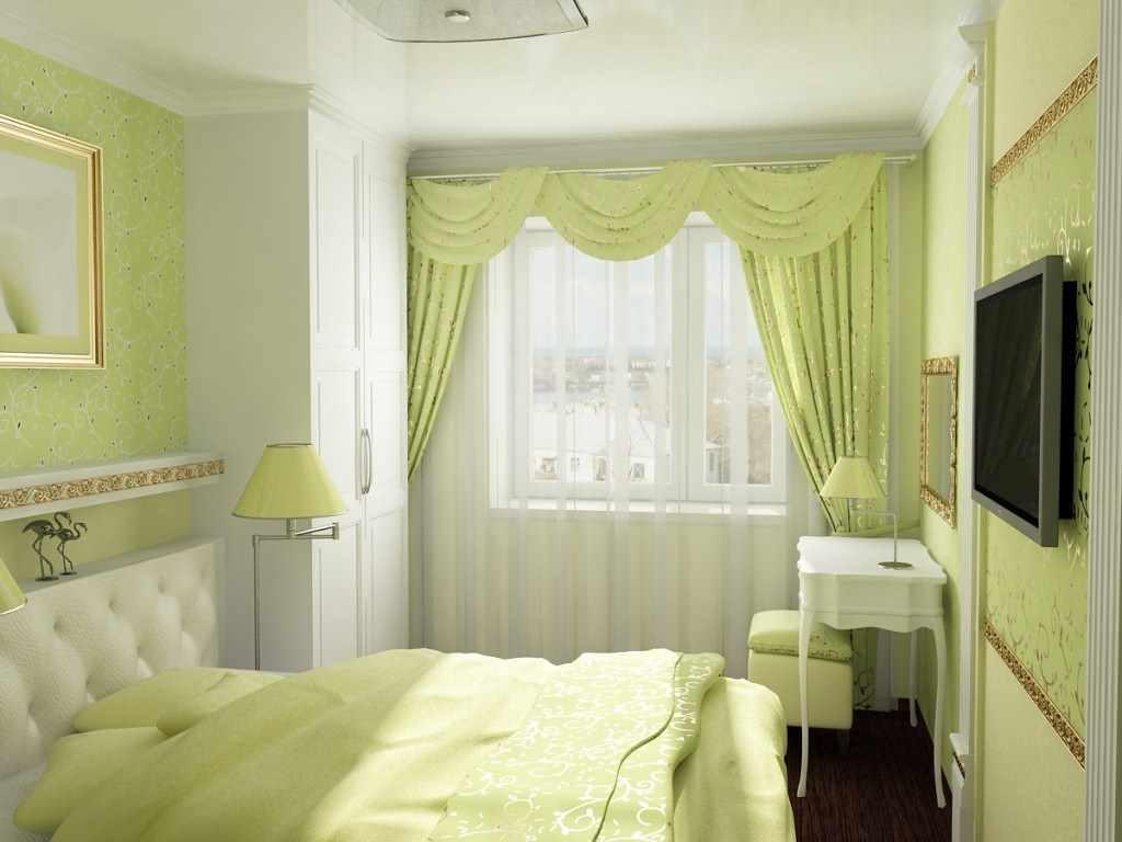 идея красивого интерьера спальни в хрущевке