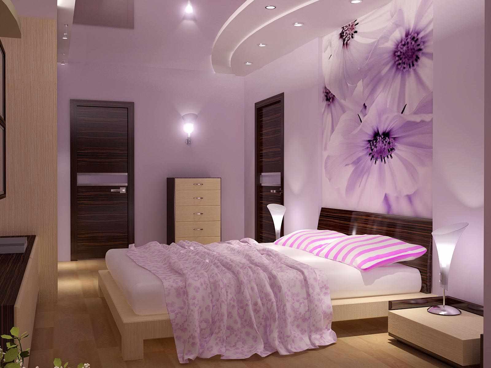 вариант светлого декора спальной комнаты