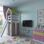 идея необычного стиля детской комнаты фото