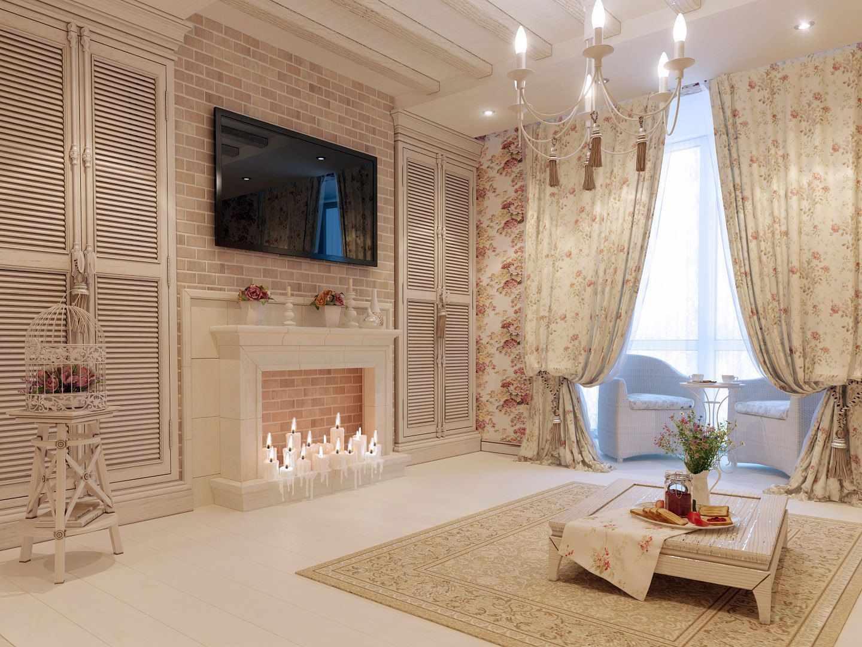 вариант необычного декора прованс в гостиной