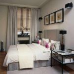 идея светлого интерьера спальни 15 кв.м картинка