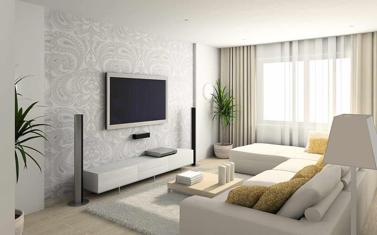 идея светлого интерьера обоев для гостиной