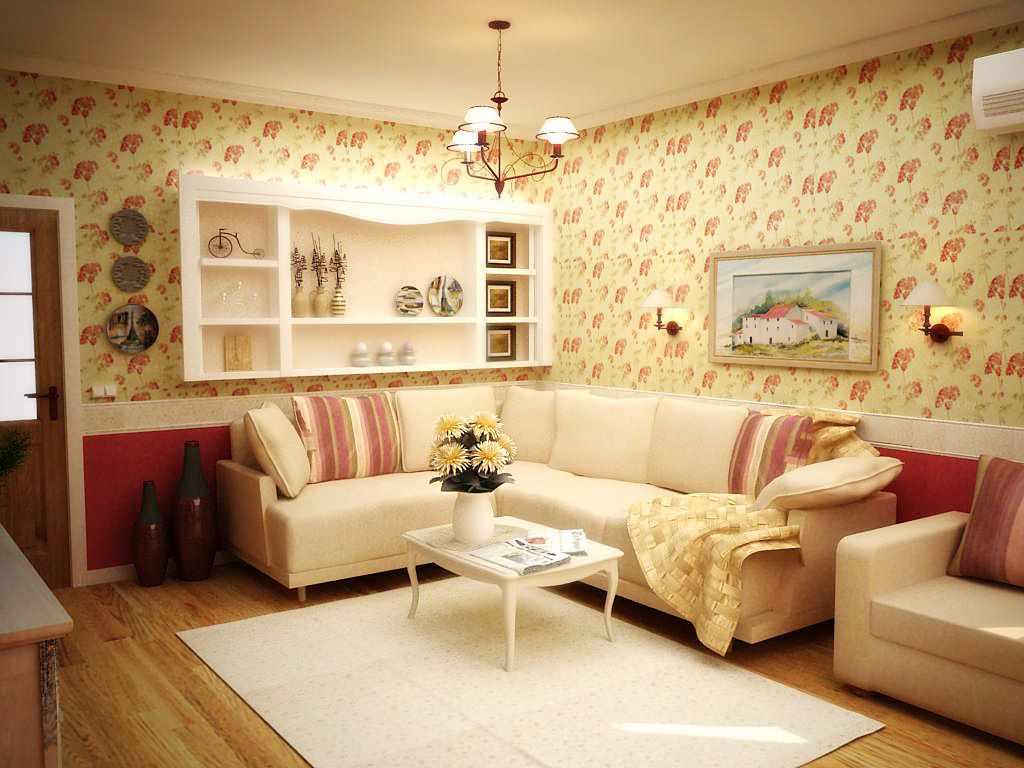 идея красивого дизайна прованс в гостиной комнате