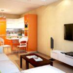 пример светлого интерьера кухни гостиной 16 кв.м картинка