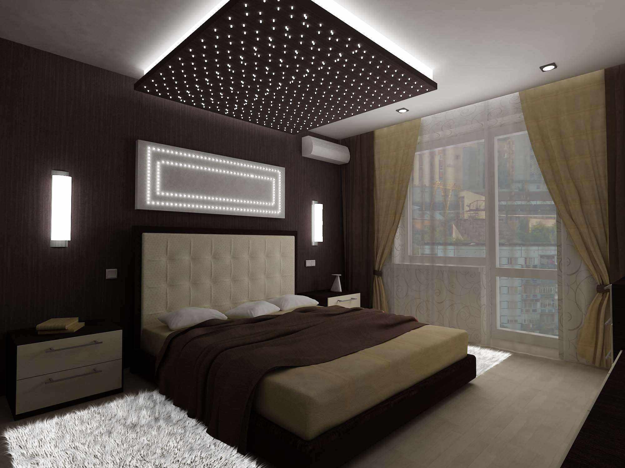 идея необычного дизайна спальни 15 кв.м