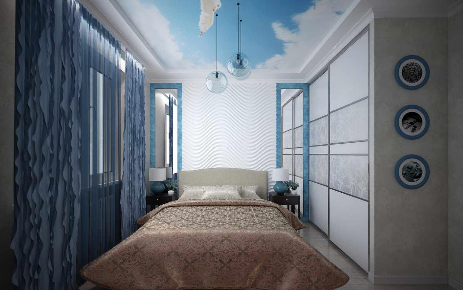 пример яркого декора спальной комнаты
