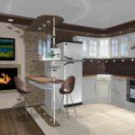 вариант красивого дизайна кухни гостиной 16 кв.м фото