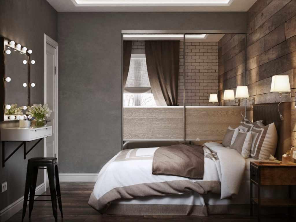 вариант яркого стиля спальни в хрущевке