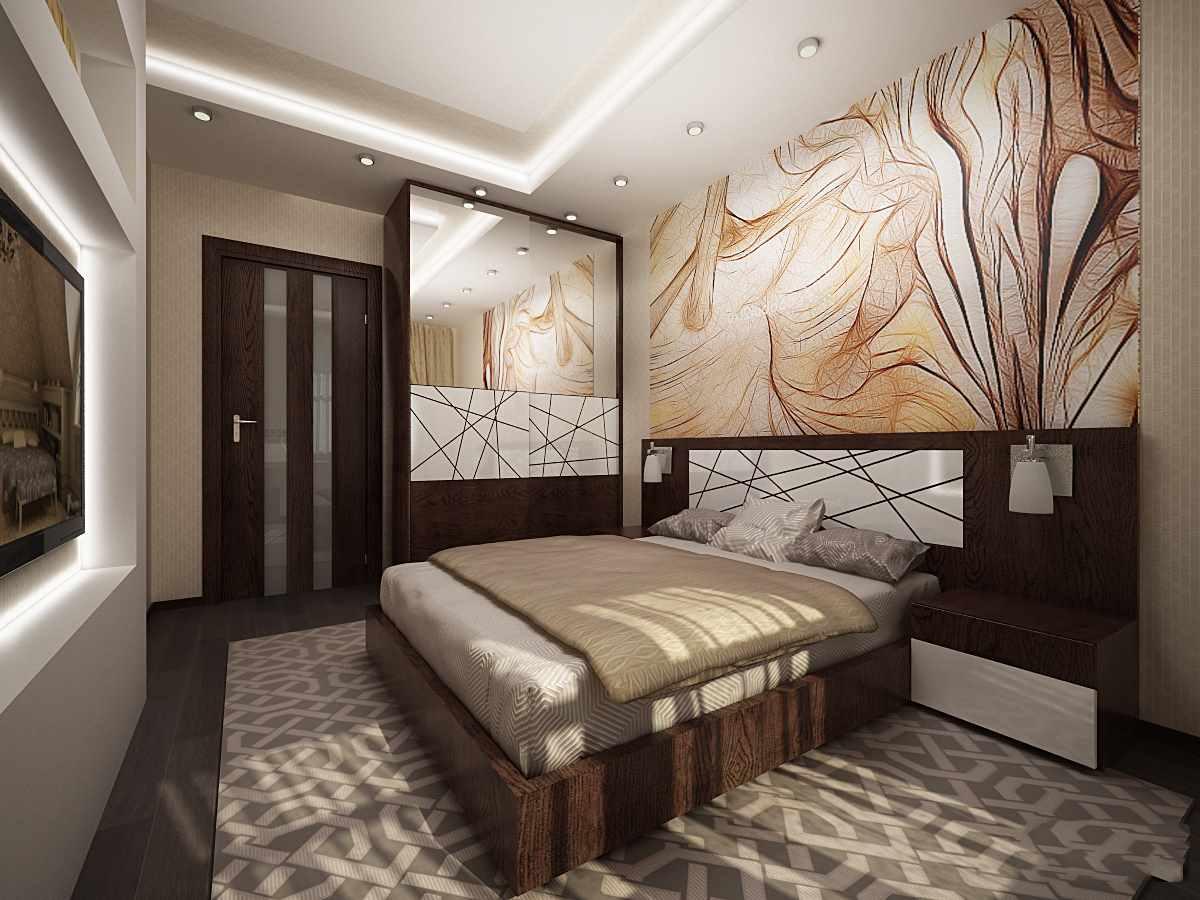 идея яркого интерьера спальни 15 кв.м
