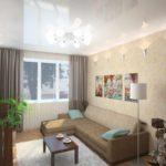 вариант яркого интерьера обоев для гостиной картинка
