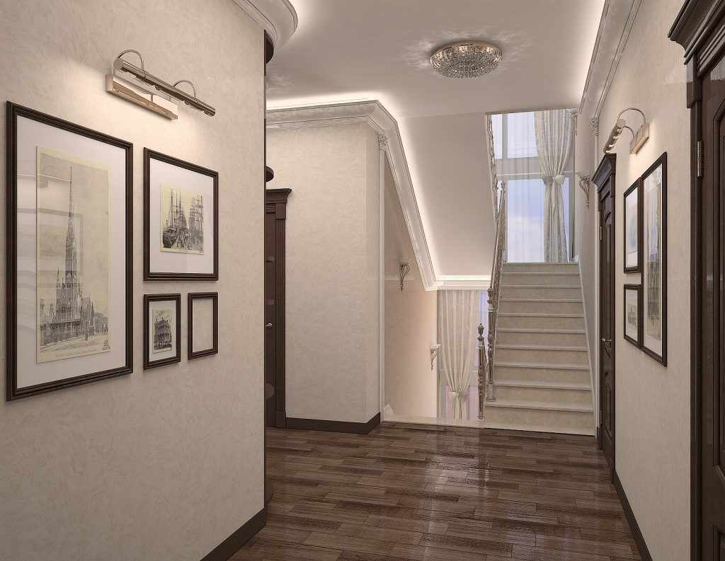 пример светлого дизайна коридора в частном доме
