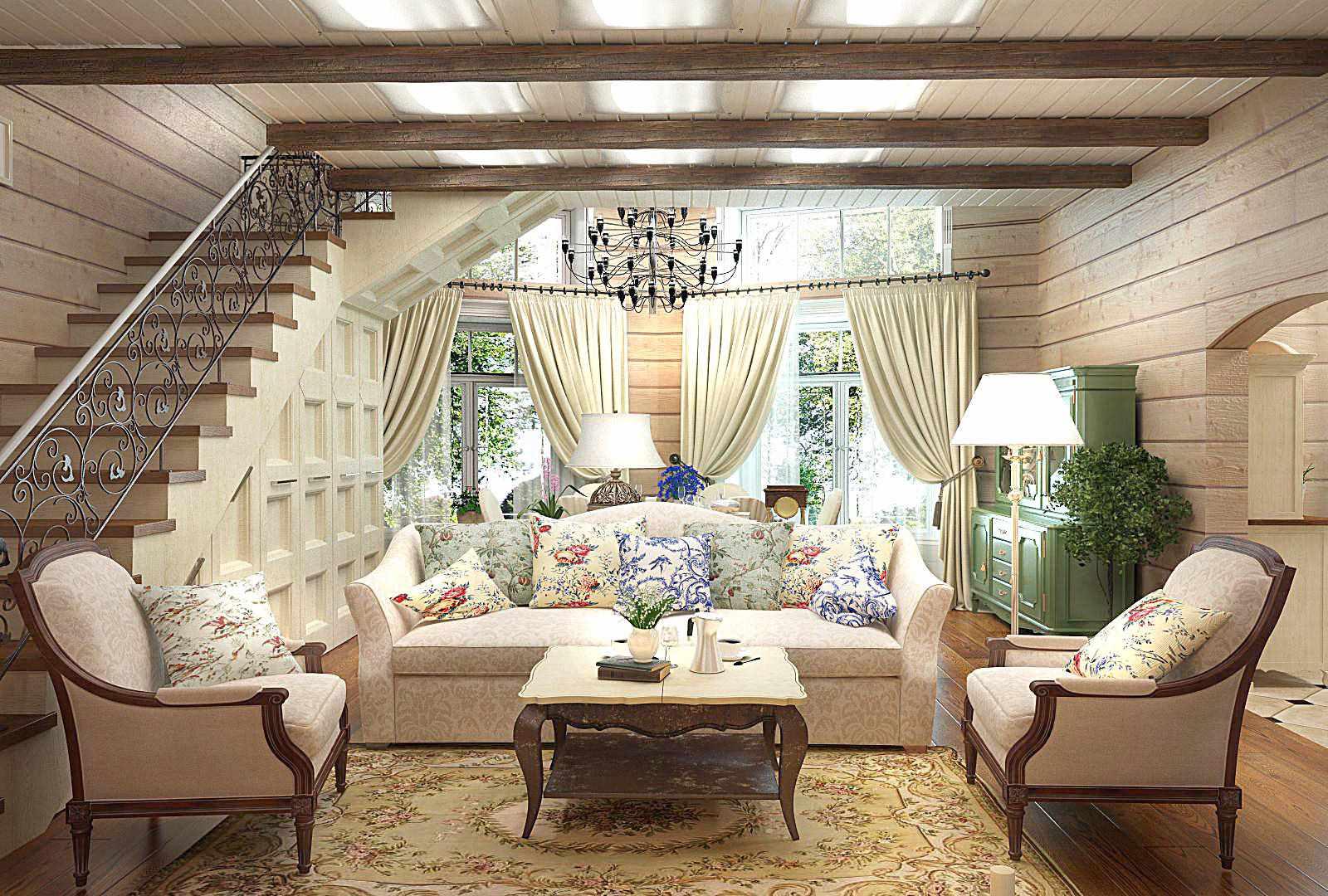 Гостиная с лестницей фото в стиле прованс