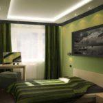 пример яркого интерьера спальни 15 кв.м картинка