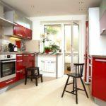 идея красивого интерьера красной кухни фото