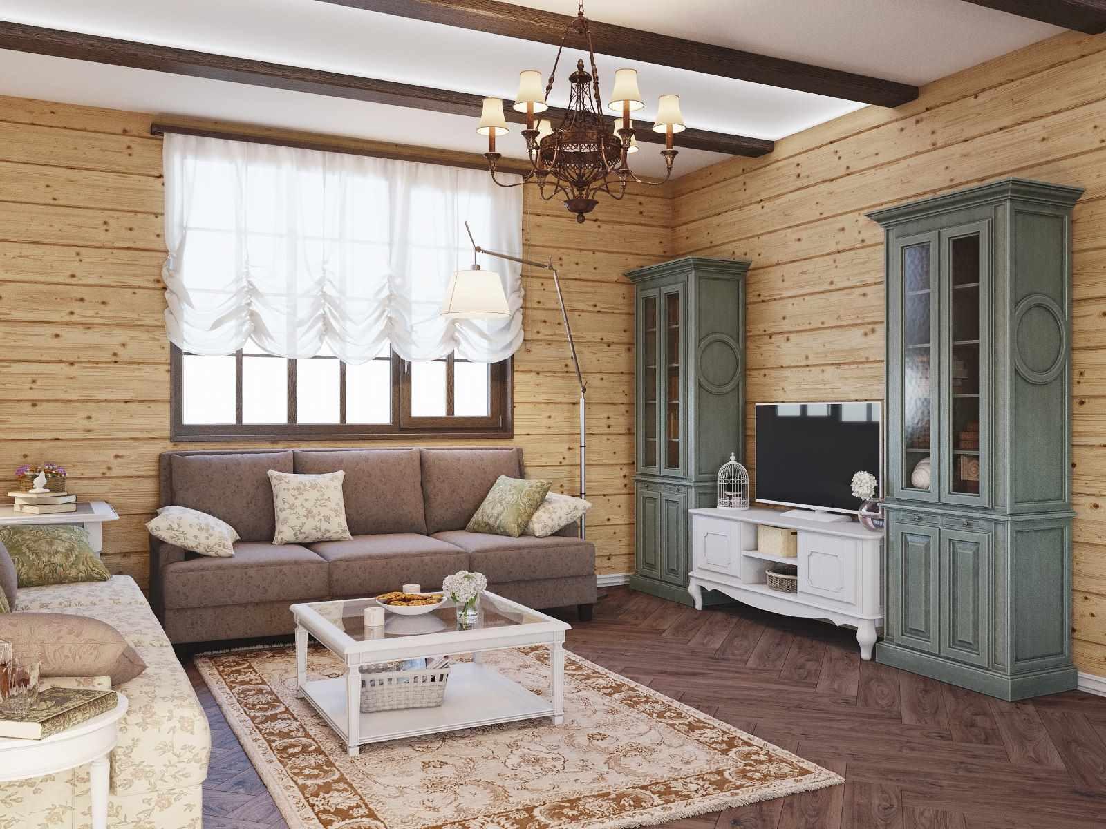 вариант светлого стиля прованс в гостиной комнате