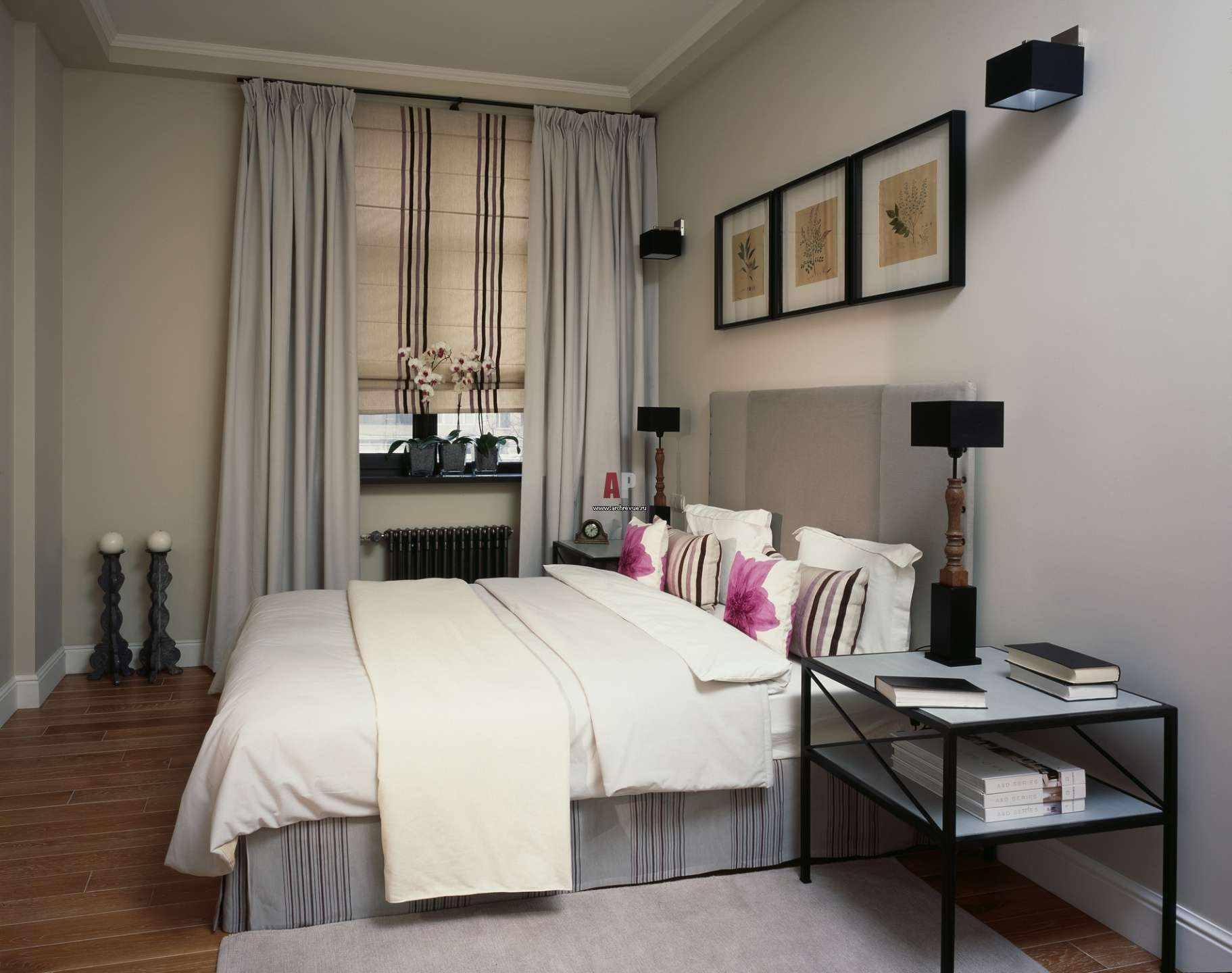 пример необычного стиля спальной комнаты в хрущевке