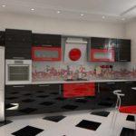 вариант яркого декора красной кухни картинка