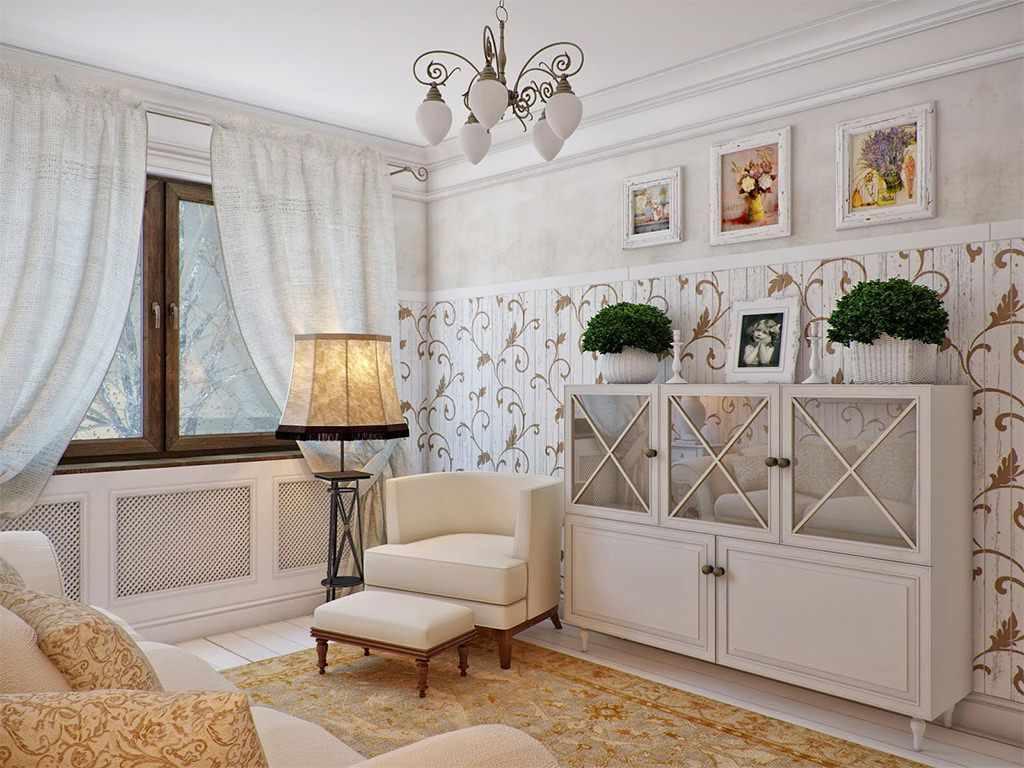 пример красивого дизайна прованс в гостиной