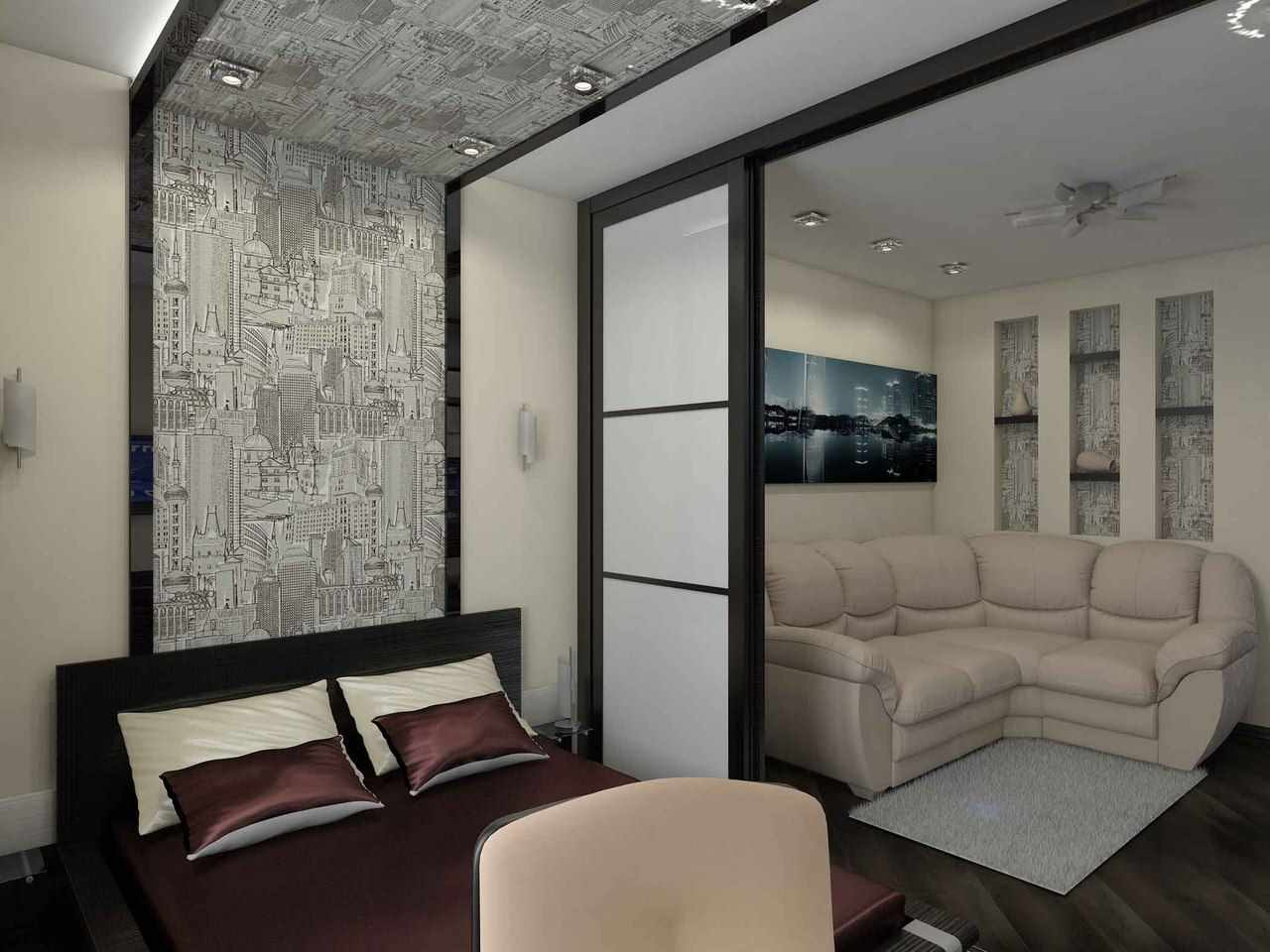 вариант красивого декора спальной комнаты 15 кв.м