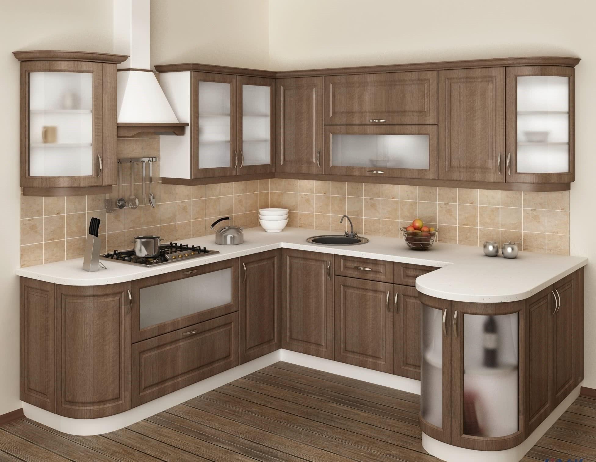 идея красивого интерьера угловой кухни